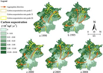 Analyzing spatial patterns of urban carbon metabolism: A case study in Beijing, China