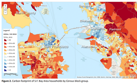Carbon footprint of S.F. Bay Area households by Census block group